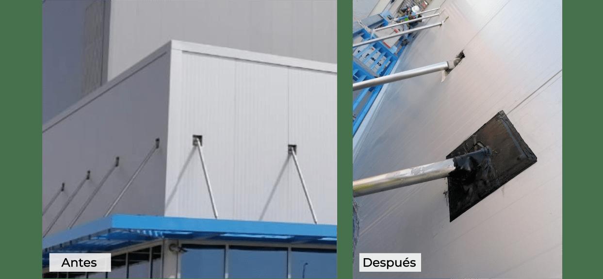 Remates de perforaciones en fachadas