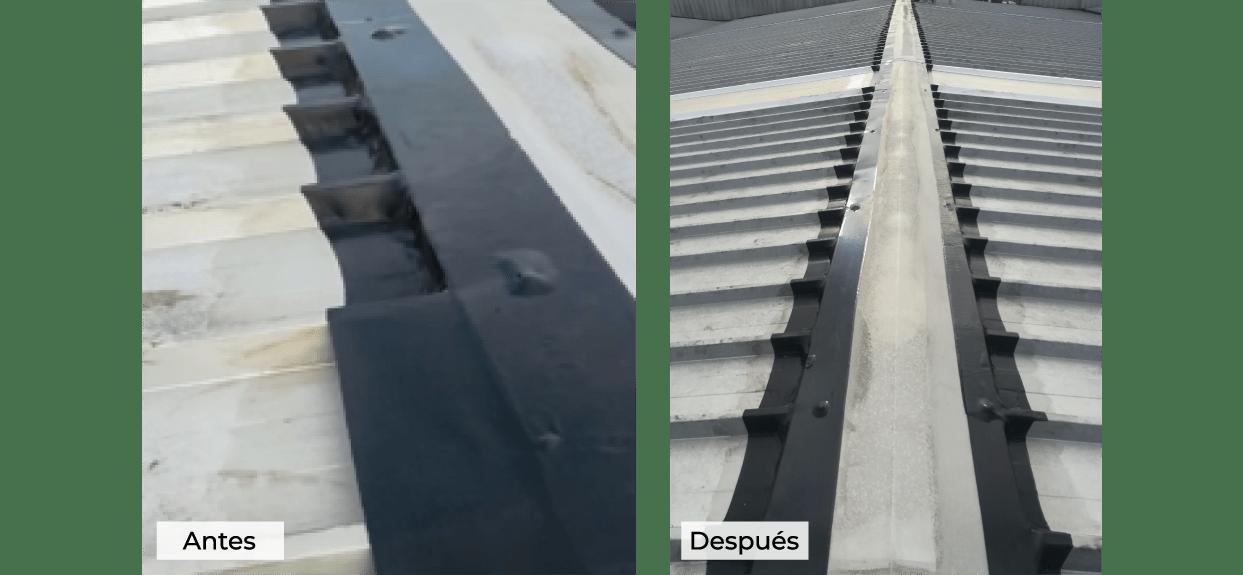 Unión de paneles en el superior de la cubierta